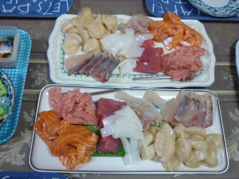 Un buen plato de sashimi casero