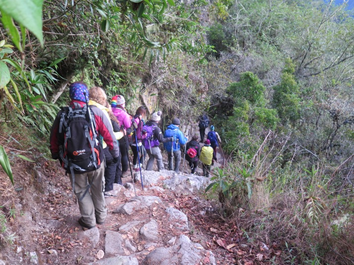El último tramo del Camino Inca con el grupo marchando compacto